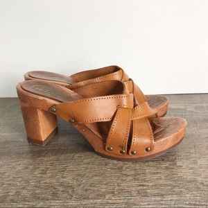 Candies chunky wood look Sandals vintage? Leather